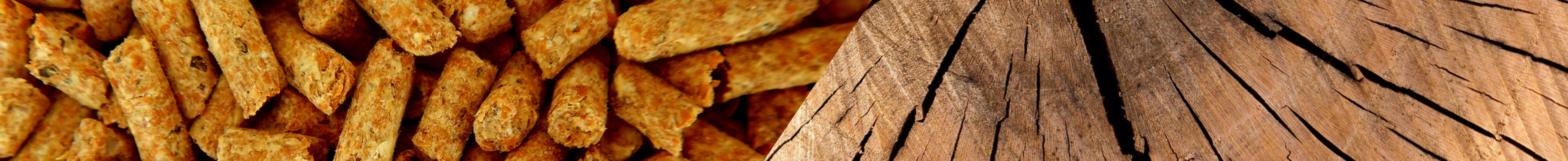 Bandeau avec une photo de granulés et d'une bûche