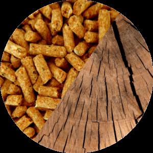 Photo de granulés et d'une buche de bois